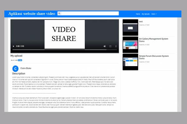 Aplikasi website share video