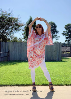 Sharon posing like the model on Vogue 1566 Montana pattern cover