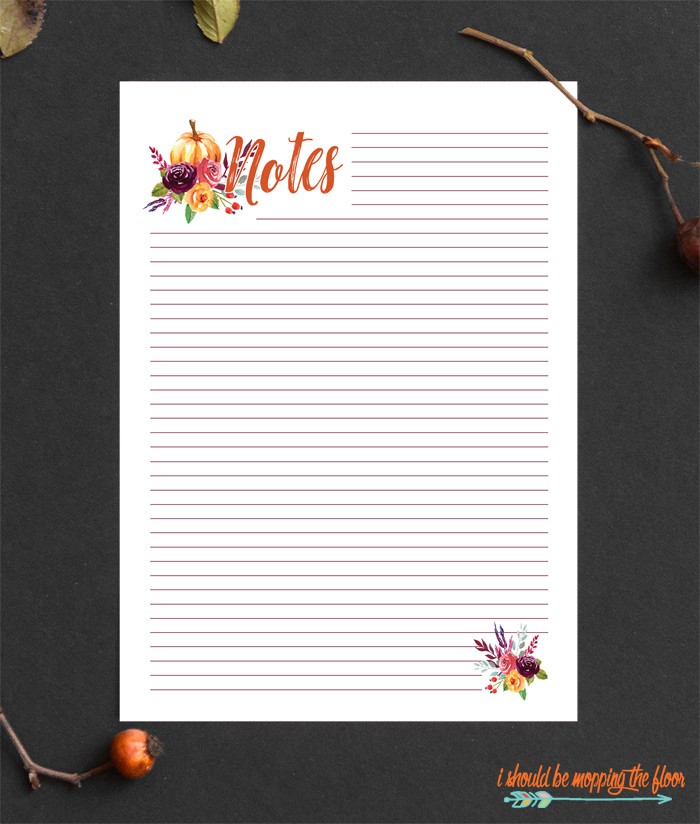 Fall Note Pages