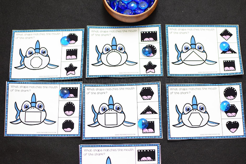 Sharks Themed Unit: Shapes Clipcards