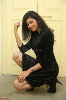 Mounika in a velvet short black dress for Tick Tack Movie Press Meet March 2017 059.JPG