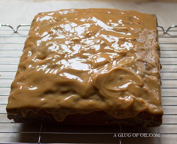 Caramel topping on poke cake