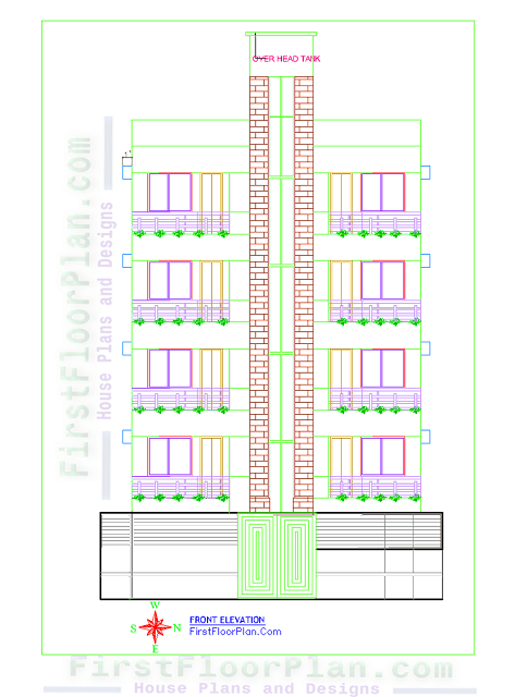 5 Story Apartment Building Front Elevation