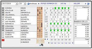 Resultados de los partidos de futbol pertenecientes a la Quiniela