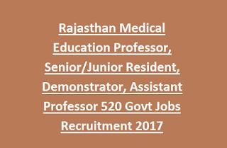 Rajasthan Medical Education Professor, Resident, Demonstrator, Assistant Professor 520 Govt Jobs Recruitment 2017