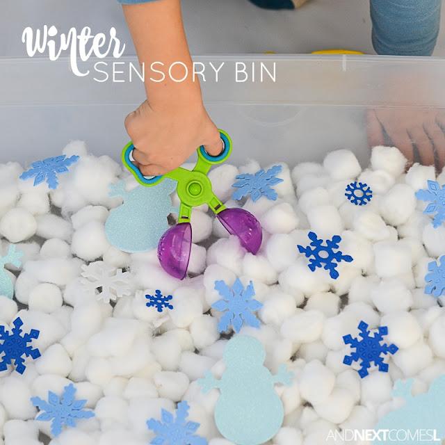 Winter sensory bin for kids