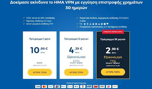 HMA VPN τιμή