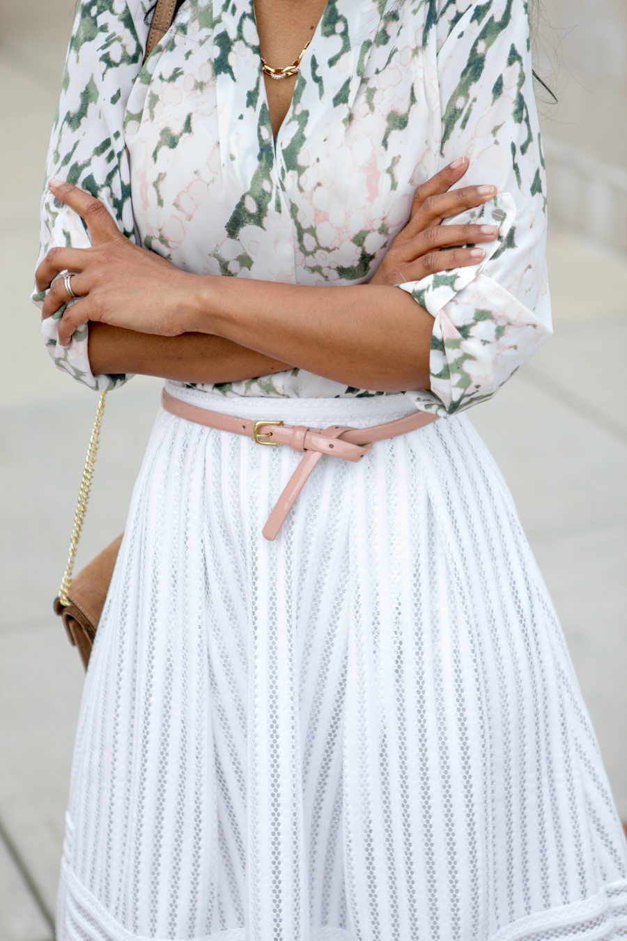 white skirt, midi skirt, look book, summer, garden print, patent leather blush, pink belt, skinny belt, camel shoulder bag, budget fashion, straw hat, how tos, outfit formula, style blog, target style