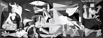 Pablo Picasso's most famous war criticism painting Guernica, 1937. It is assumed as icon for anti war behaviours.