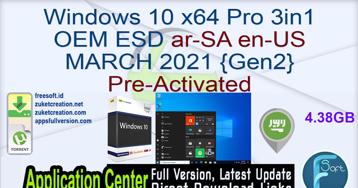 Aplikasi Cracked: Windows 10 x64 Pro 3in1 OEM ESD ar-SA en ...