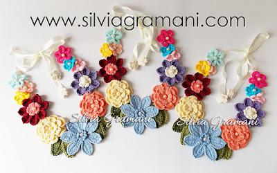 Colares de Crochê com Flores