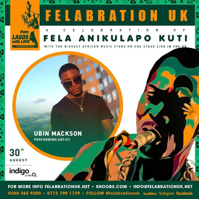"Taraba born artiste, Ubin Mackson set to perform at ""FELAbration"" in UK, alongside Falz, Victor AD & other celebrities."