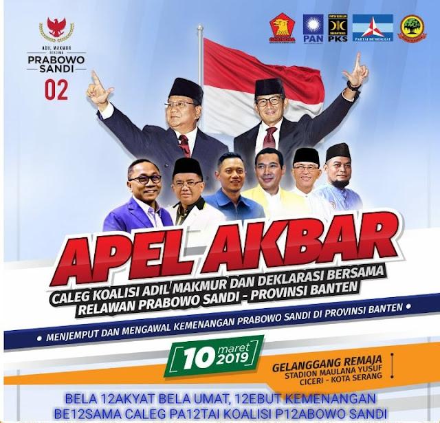 Ahad Besok, 6000 Relawan Prabowo-Sandi Siap Guncang Banten