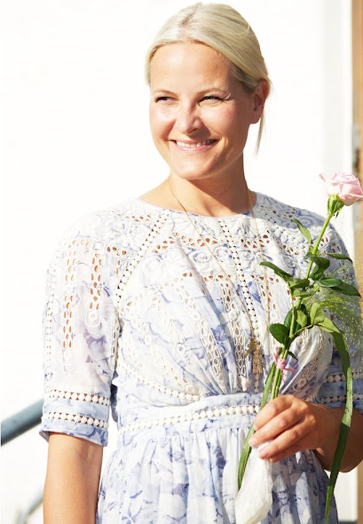 Crown Princess Mette-Marit in Zimmermann Confetti Scallop Day Dress