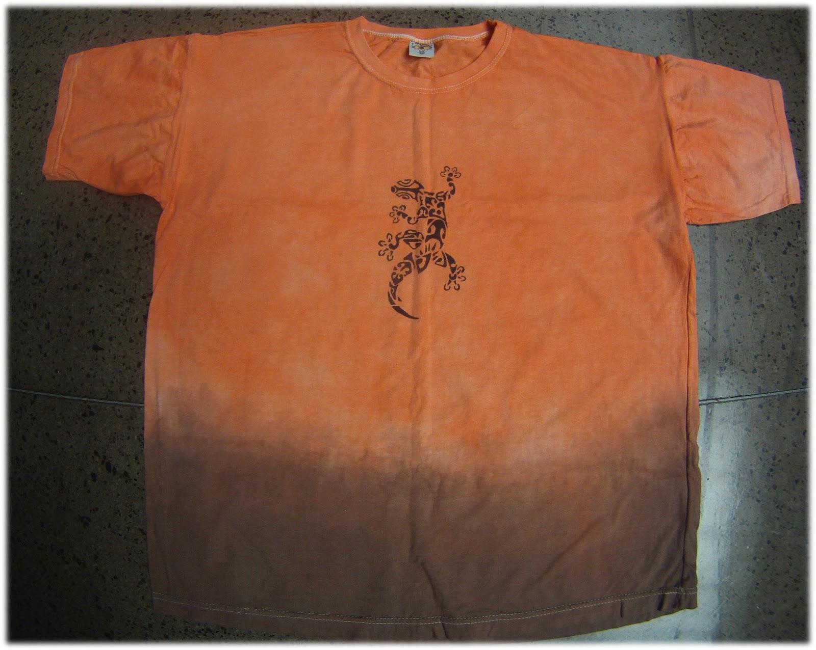 8598d5769d camiseta tiedye laranja degradê marrom e pintura de calango.