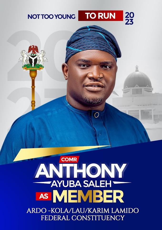 Not Too Young To Run: 32-Year-Old Anthony Ayuba Saleh Set To Contest For Member Ardo Kola, Lau, Karim Lamido Federal Consistency