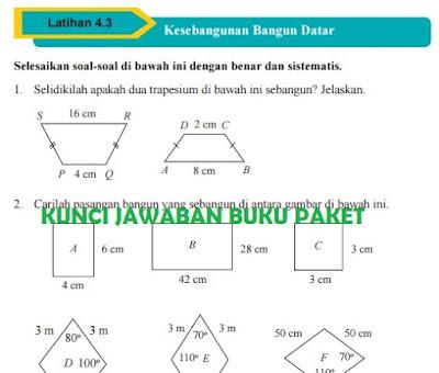 Kunci Jawaban Buku Paket Matematika Kelas 9 Uji Kompetensi 4.3 Kesebangunan Bangun Datar Halaman 238, 239, 240, 241 kurikulum 2013