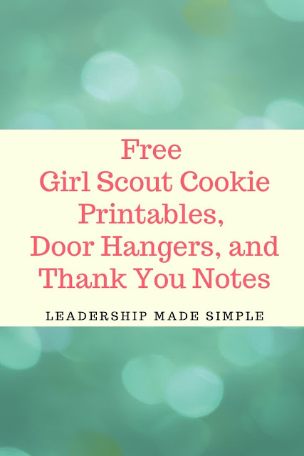 10 Free Girl Scout Cookie Printables, Door Hangers, and Thank You Notes