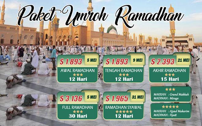 biaya jadwal Paket Umroh Ramadhan Syawal 2019