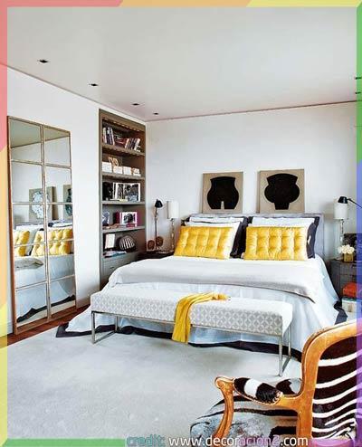 اثاث خاص بغرف نوم رمادي بالأصفر