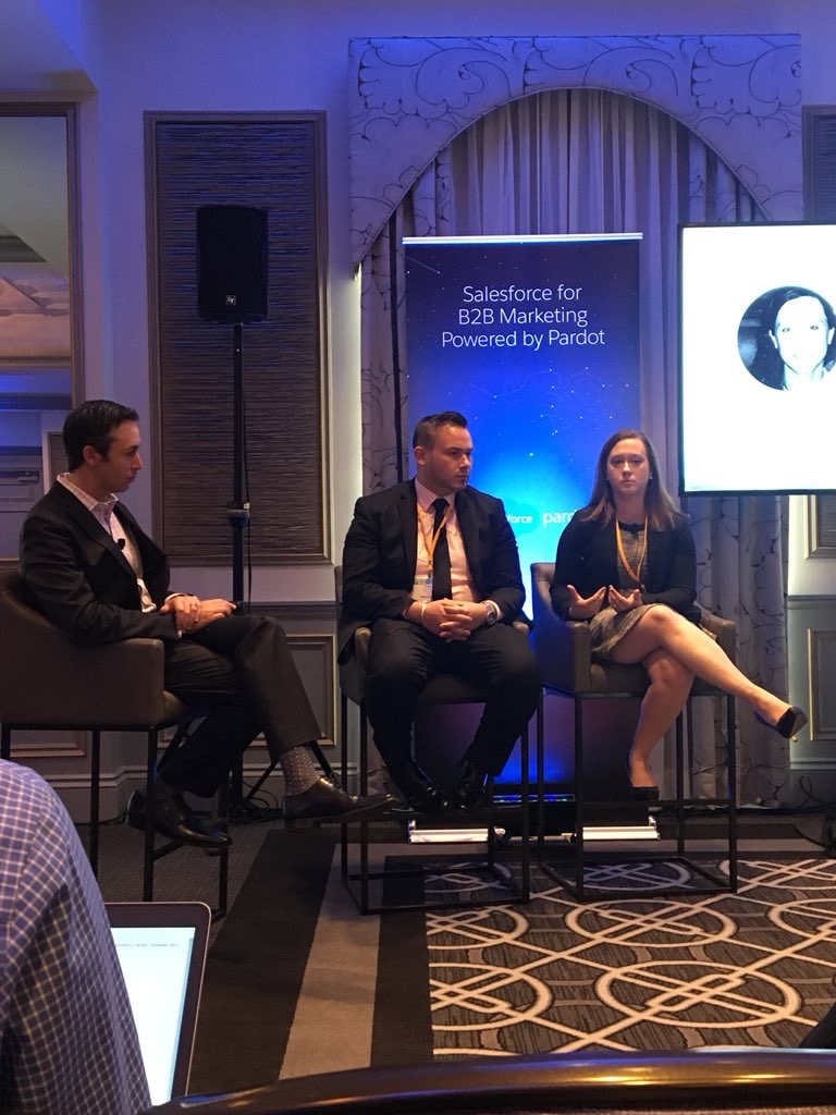 Tigh Loughhead, Mike Kostow and Maureen Maggioni of Pardot at Salesforce Executive Campfire in Philadelphia