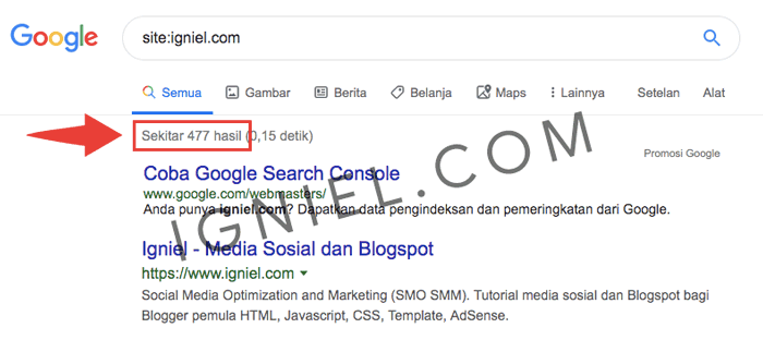 Lihat Jumlah Index Google
