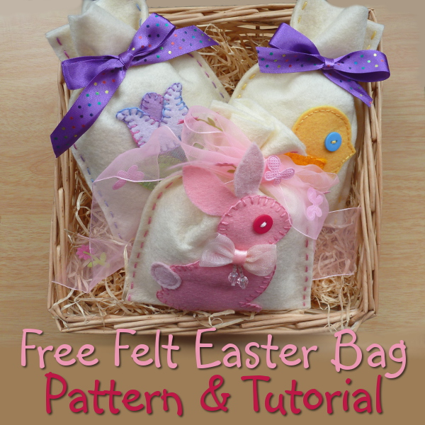 Felt Easter bag pattern tutorial with free bunny rabbit applique design Spring bags handmade DIY favor bags to sew yourself quick and easy