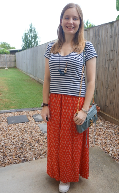 striped tee with red boho printed thrifted maxi skirt blue rebecca minkoff crossbody bag | away from the blue