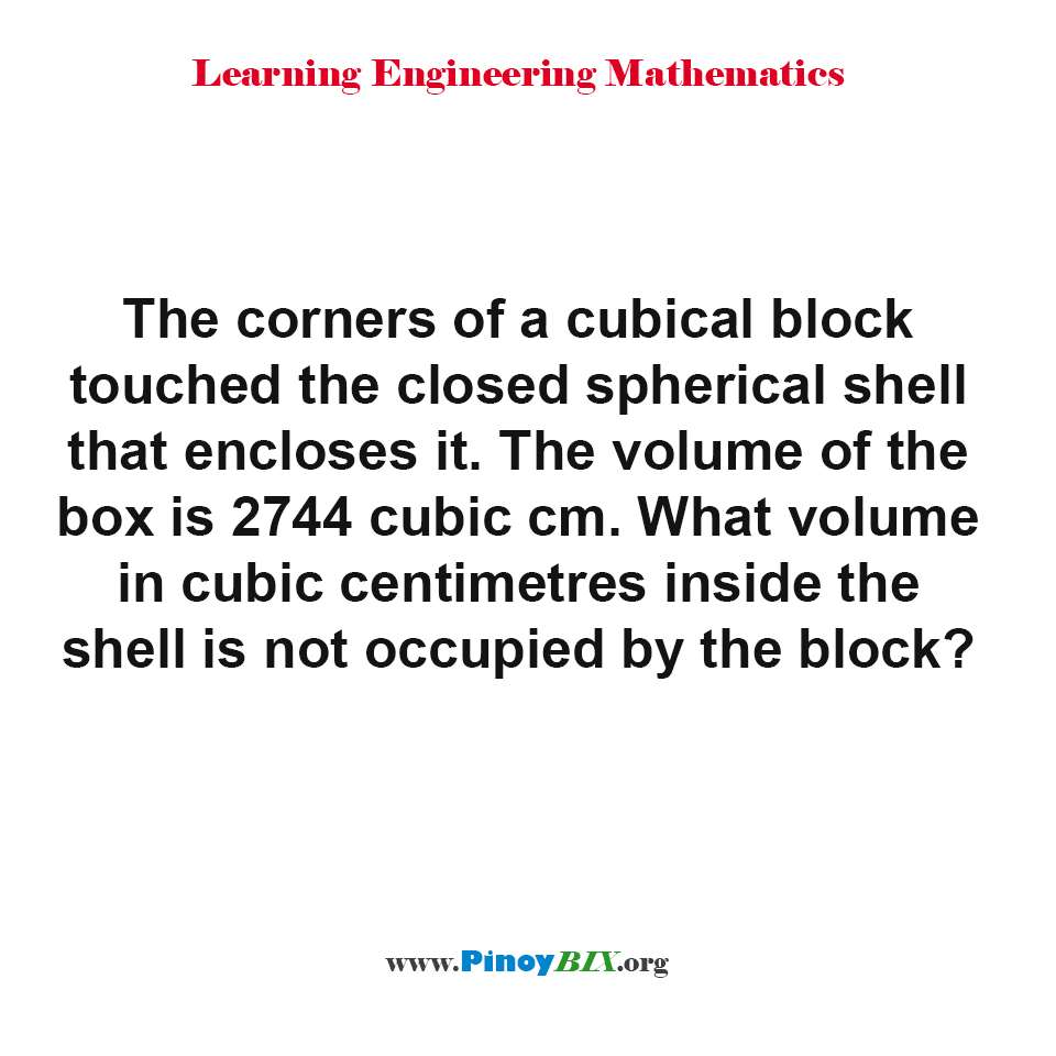 What volume inside the spherical shell is not occupied by the cubical block?