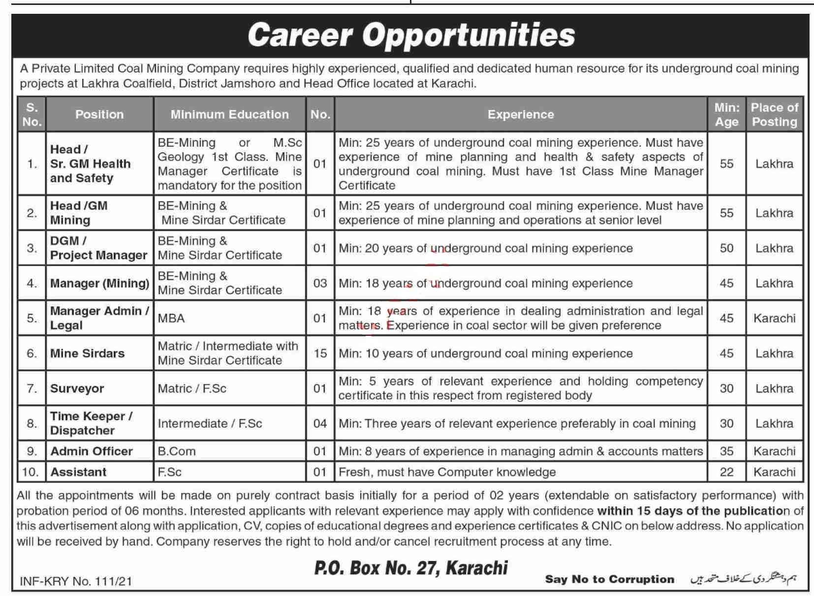 GM Health & GM Mining Jobs 2021 in Mining Company Karachi for Manager Admin, Mine Sirdars, Surveyor, Time Keeper, Dispatcher, Admin Officer, Assistant and more