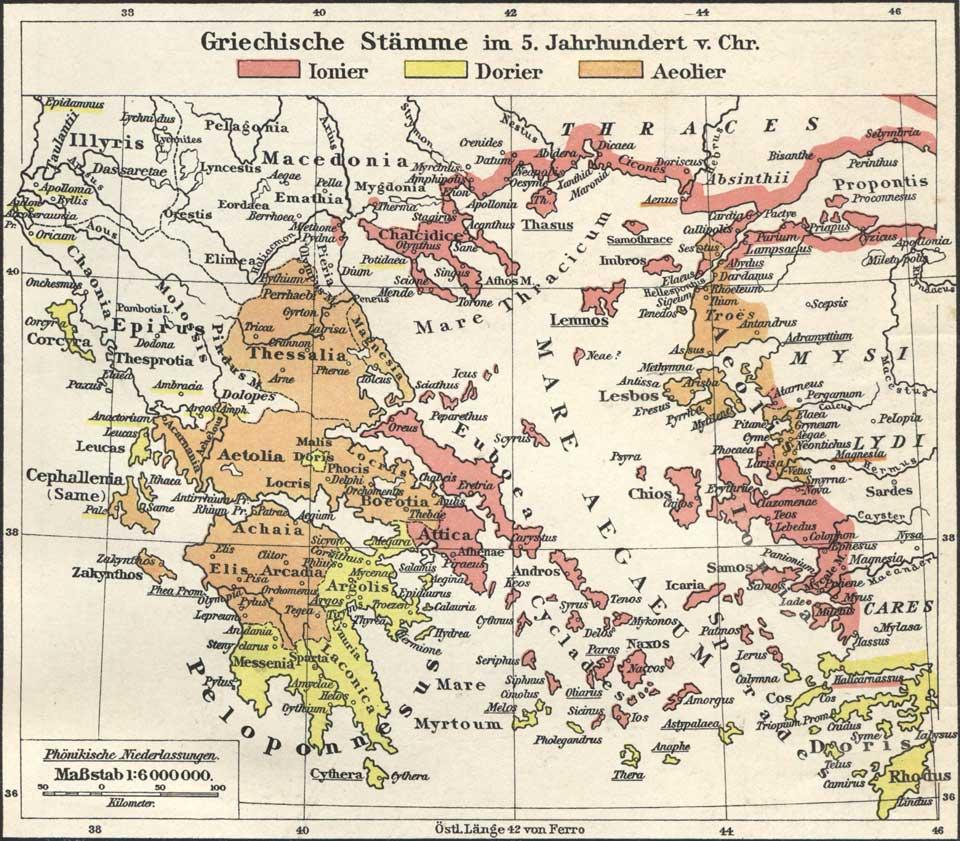 griechische Stämme um 5 Jahrhundert vor Christus