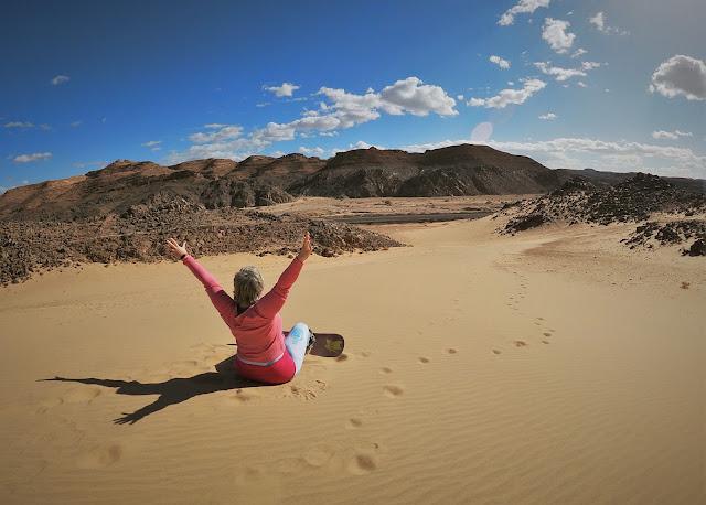 Happy to go sandboarding in the Sinai Desert, Egypt