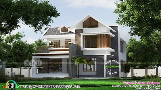 Mix roof 4 bedroom villa rendering
