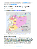 Map of fighting and territorial control in Syria's Civil War (Free Syrian Army rebels, Kurdish YPG, Al-Nusra Front, Islamic State (ISIS/ISIL), and others), updated for September 2015. Highlights recent locations of conflict and territorial control changes, such as Abu Duhur airbase, Qadam district, Mansoura, Marea, and more.