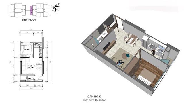 Thiết kế căn hộ 45m2 giá 1,2 tỷ đồng tại Eco Dream