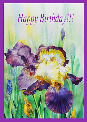Bestselling Watercolor Painting of Iris Flower artist Irina Sztukowski