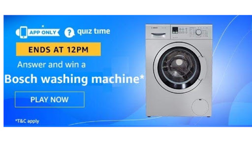 Amazon Quiz Answers For Today 30th May 2020 - Win Bosch Washing Machine