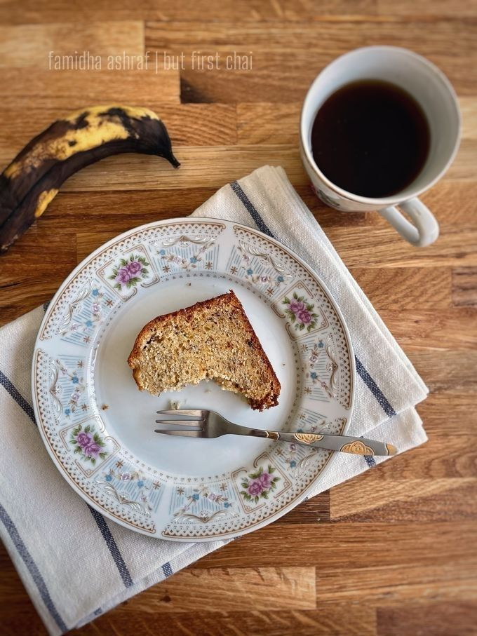 banana bread sliced and served