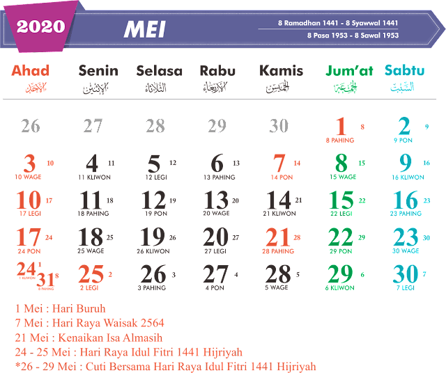Download Kalender Mie 2020