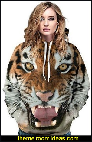 Tiger Face Pattern 3D Painted Hoodie womens jumpers womens tops womens clothing