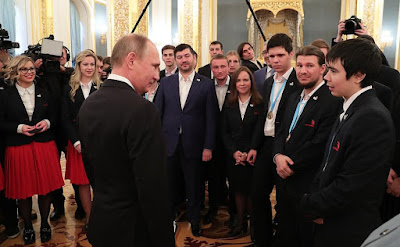 President Putin at the meeting with members ofWorldSkills-Russia national team.