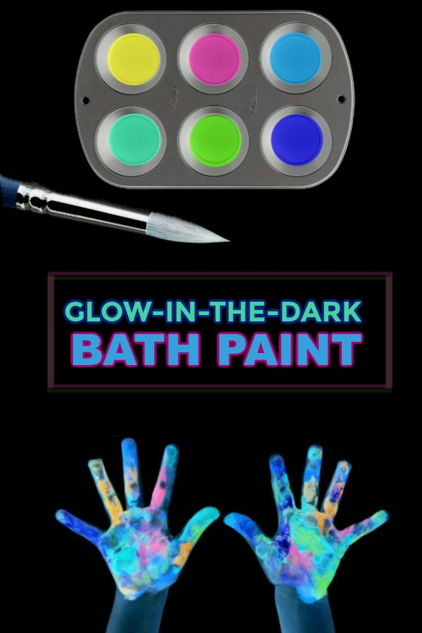 GLOWING BATH PAINT. Easy recipe & so fun! #bathpaintforkidsdiy #paintingideas #paintrecipe #paintrecipeshomemade #craftsforkids
