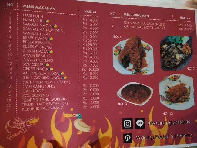 menu makanan warung pedas lampung