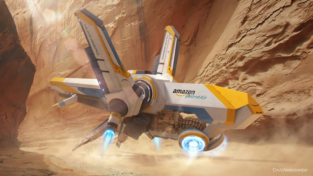 Amazon Prime Air deliveries on Mars by Dave Arredondo