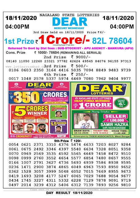 Lottery Sambad 18-11-2020 Today Results 4:00 pm, Nagaland State Lottery Sambad Today Result 4 pm, Sambad Lottery, Lottery Sambad Live Result Today