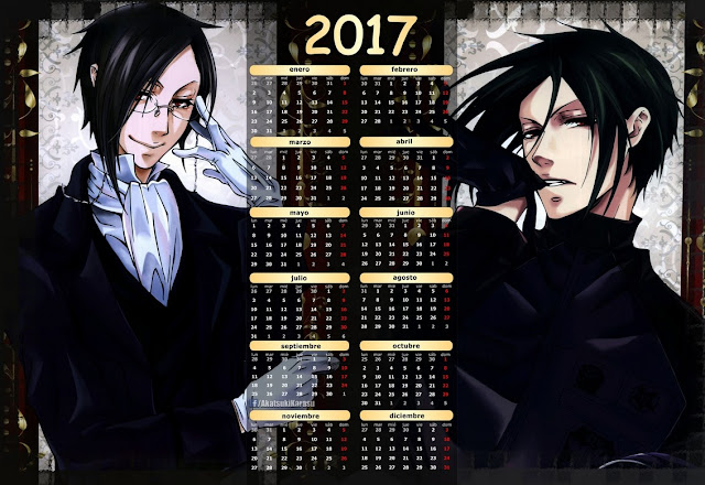 calendario 2017 black butler sebastian