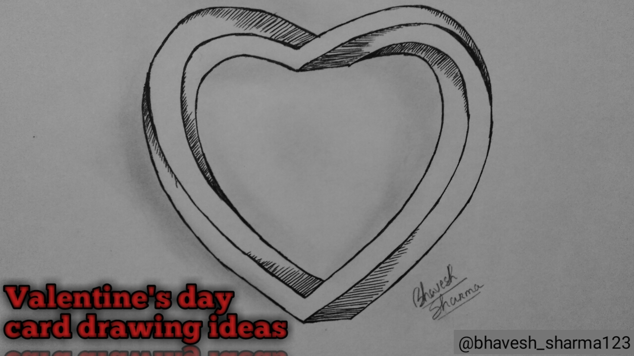 Valentine S Day Card Drawing Ideas Pencil Drawing