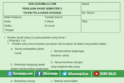 Soal PAT / UKK Kelas 5 Tema 9 Kurikulum 2013 Semester 2