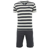 Tokyo Laundry Men's Stripe Shortie Loungewear Set Pijama manga corta - Charcoal Marl