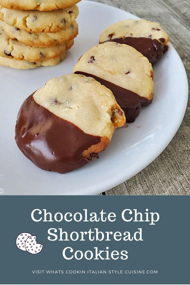 this is a pin for later cookie dipped in chocolate and stacked they are all shortbread cookies with chocolate chips